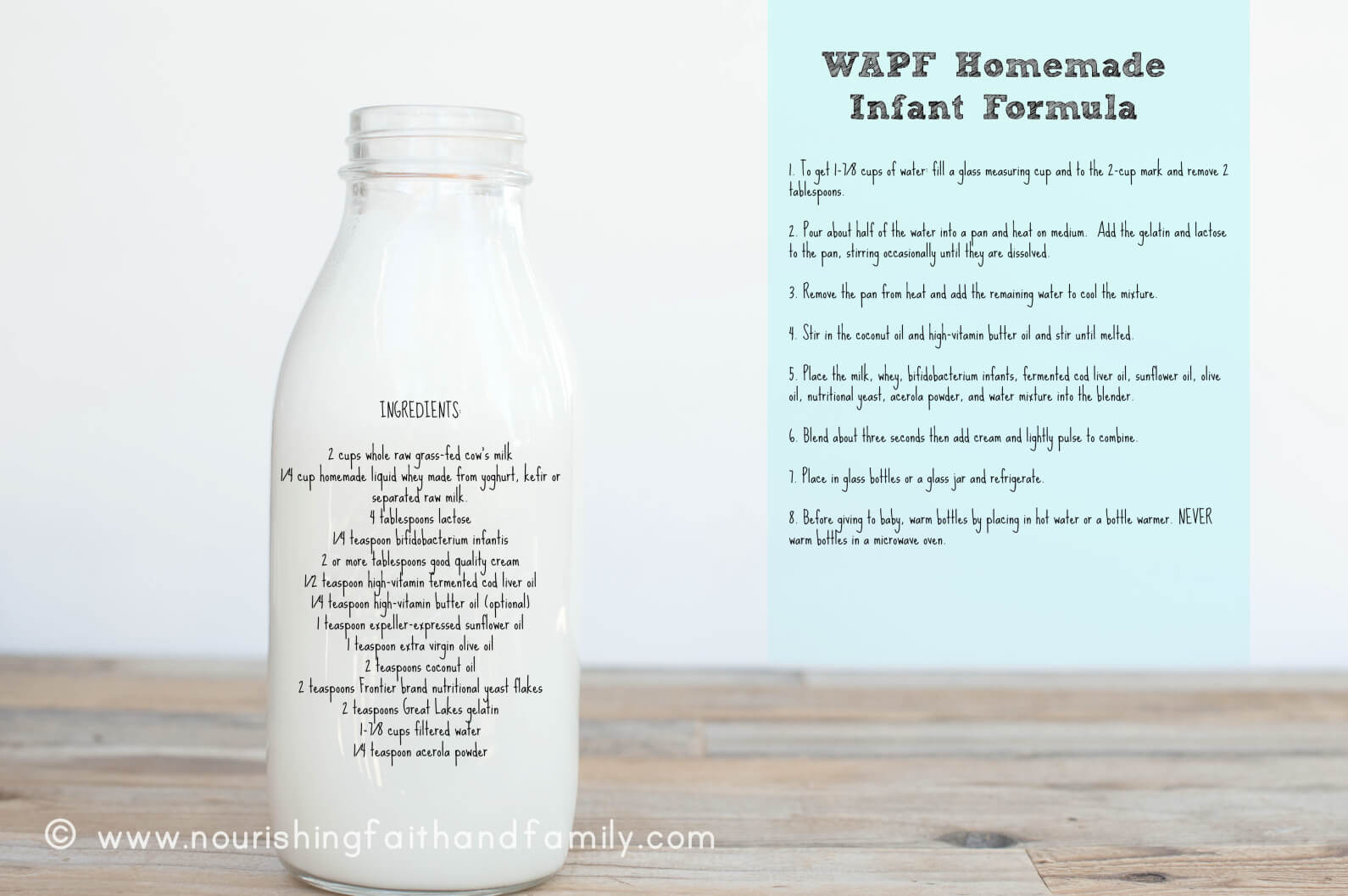 Homemade Infant Formula: Weston A. Price Foundation Recipe   www.BreastfeedingPlace.com  #formula #breastfeeding